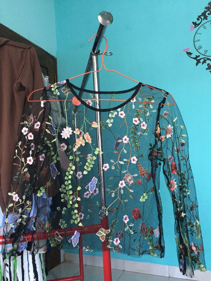 rainforest embroidery sheer top