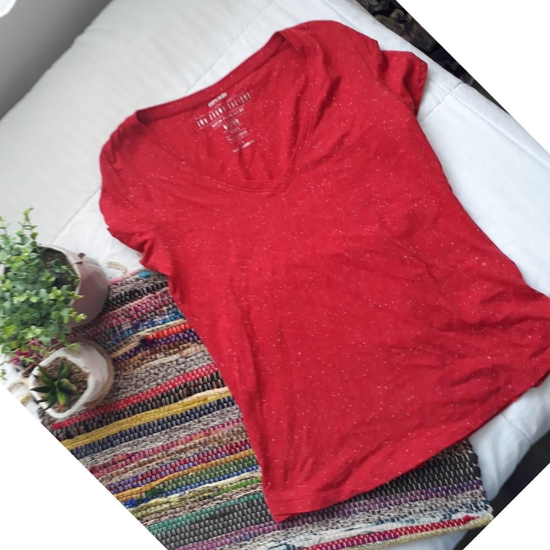 Red V neck top with white flecks
