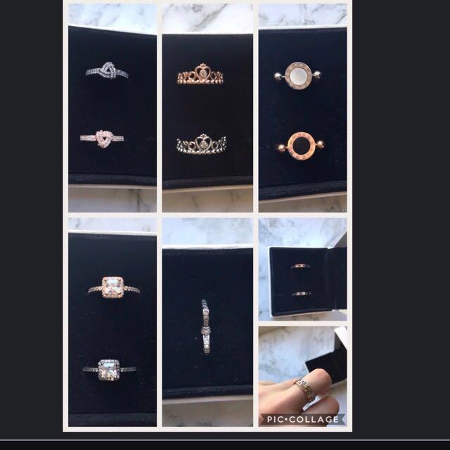 Rings, rose gold, silver, pandora, carter etc...
