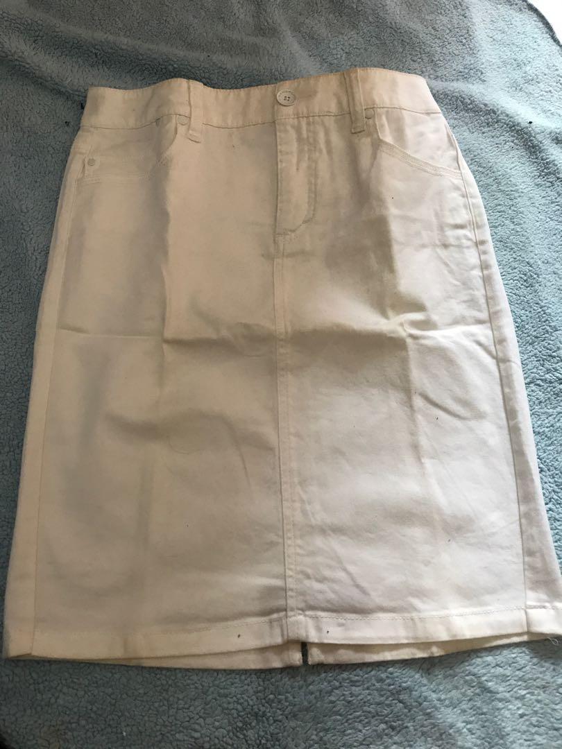 Rok jeans putih