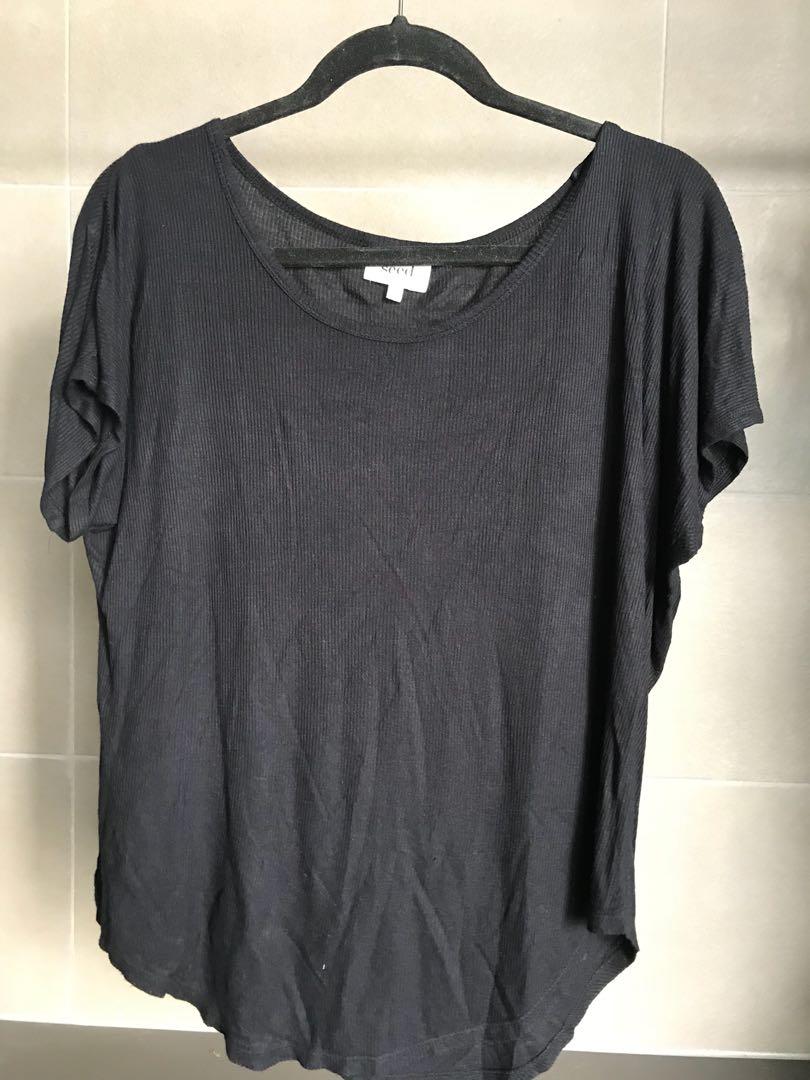 SEED 100% viscose black tshirt