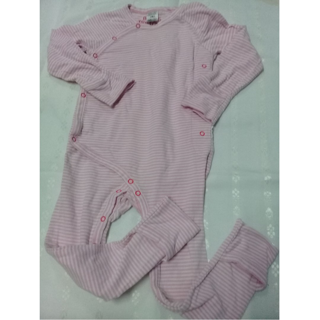 Size 1 Bonds Pink Strip Sleepsuit