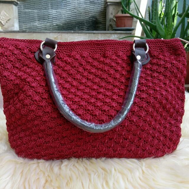 Tas Rajut Crochet Handmade Handbag Totebag Warna Maroon Model Pola Kerang/Kipas