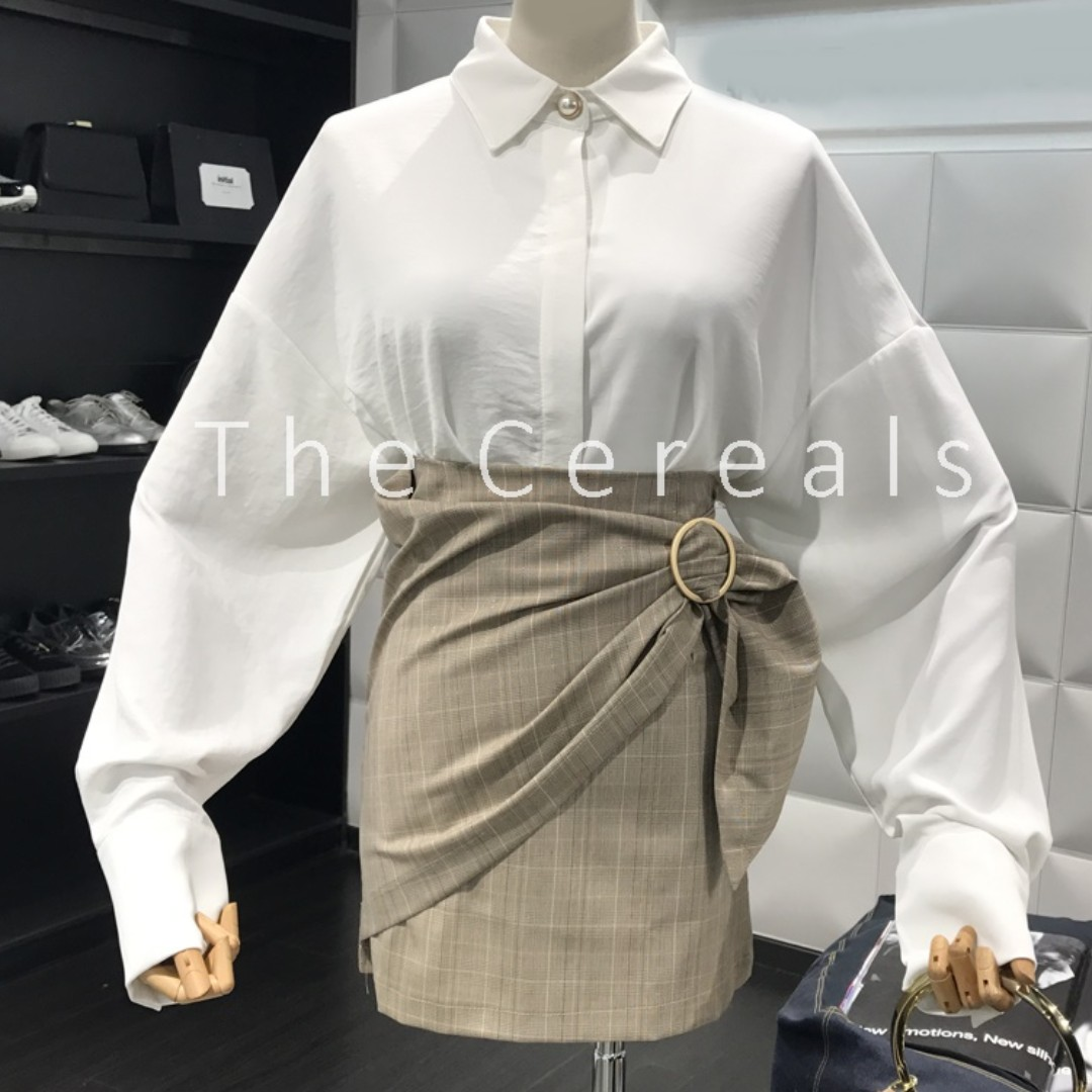 TC1961 Korea 2 Pieces Loose Top + High Waist Belted Skirt (Set)