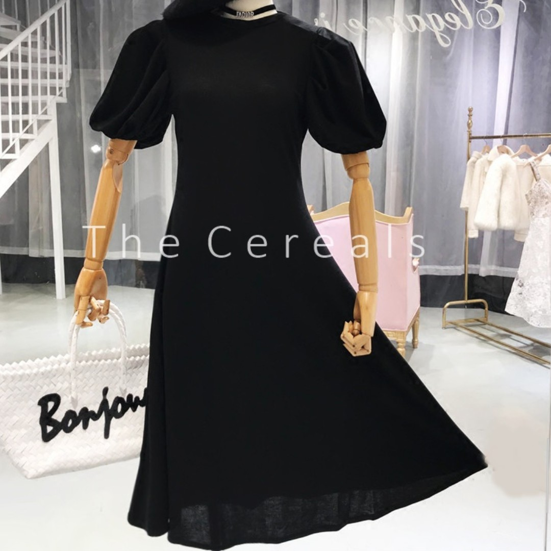 TC1965 Korea Bubbles Sleeve High Waisted Long Dress (Black,Khakis)