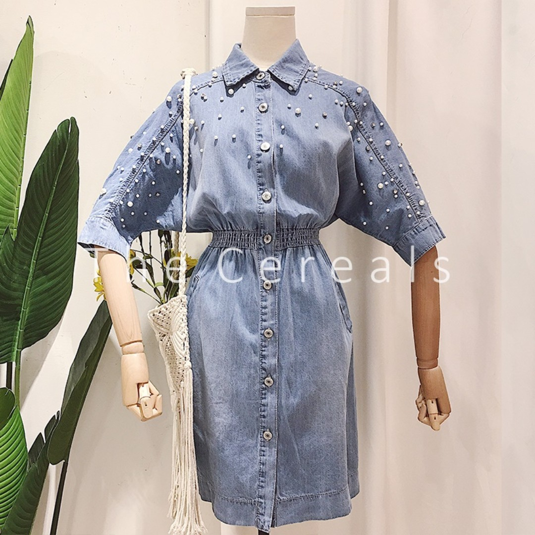 TC1968 Korea Pearl and Diamond Studded Denim Dress / Outer (Soft Blue,Dark Blue)