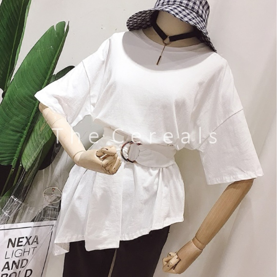 TC1969 Korea Belted Irregular Top (White,Red)