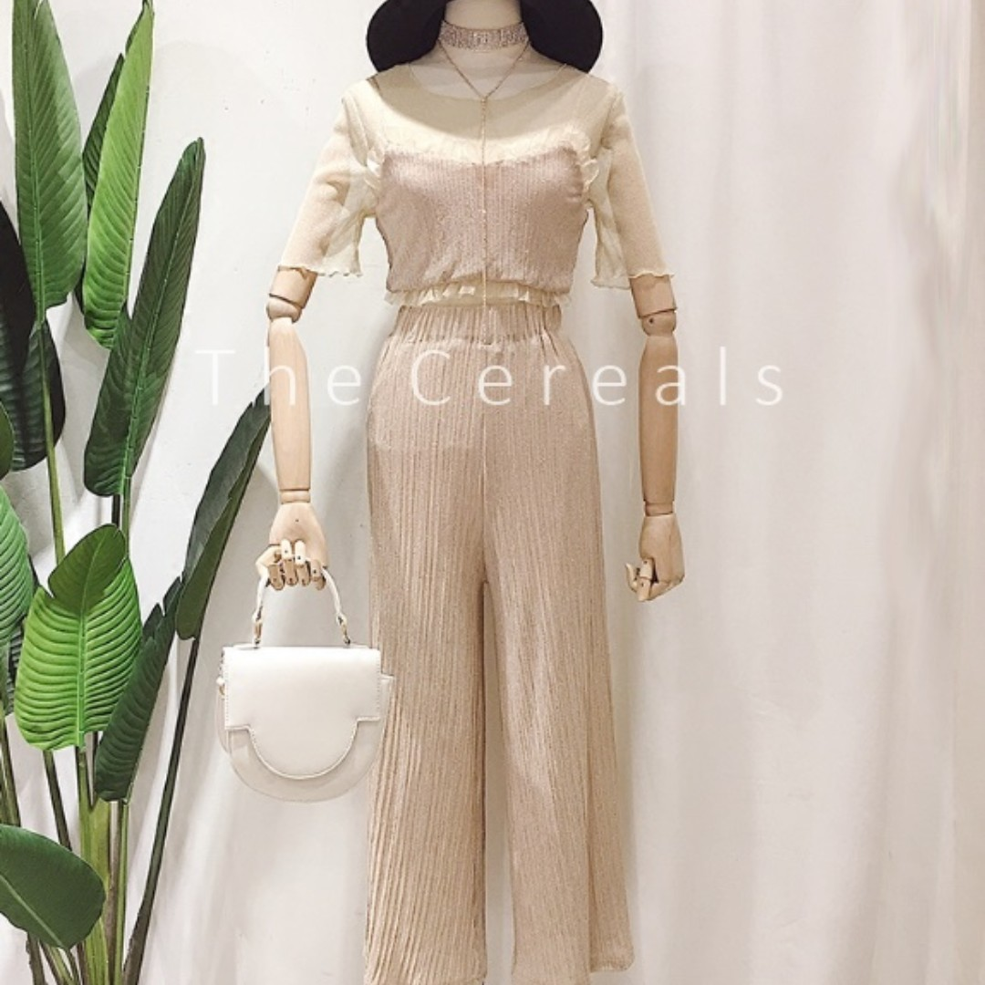 TC1970 Korea 3 Separate Pieces Sheer Top + Bustier + Long Pant (Set)(Beige,Black)