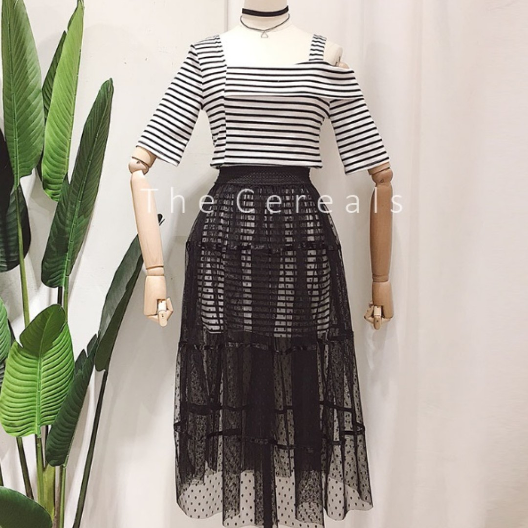 TC1971 Dior Spring/Summer 18 Inspired Stripped Top + Chiffon Long Sheer Skirt (Set)(White,Black)