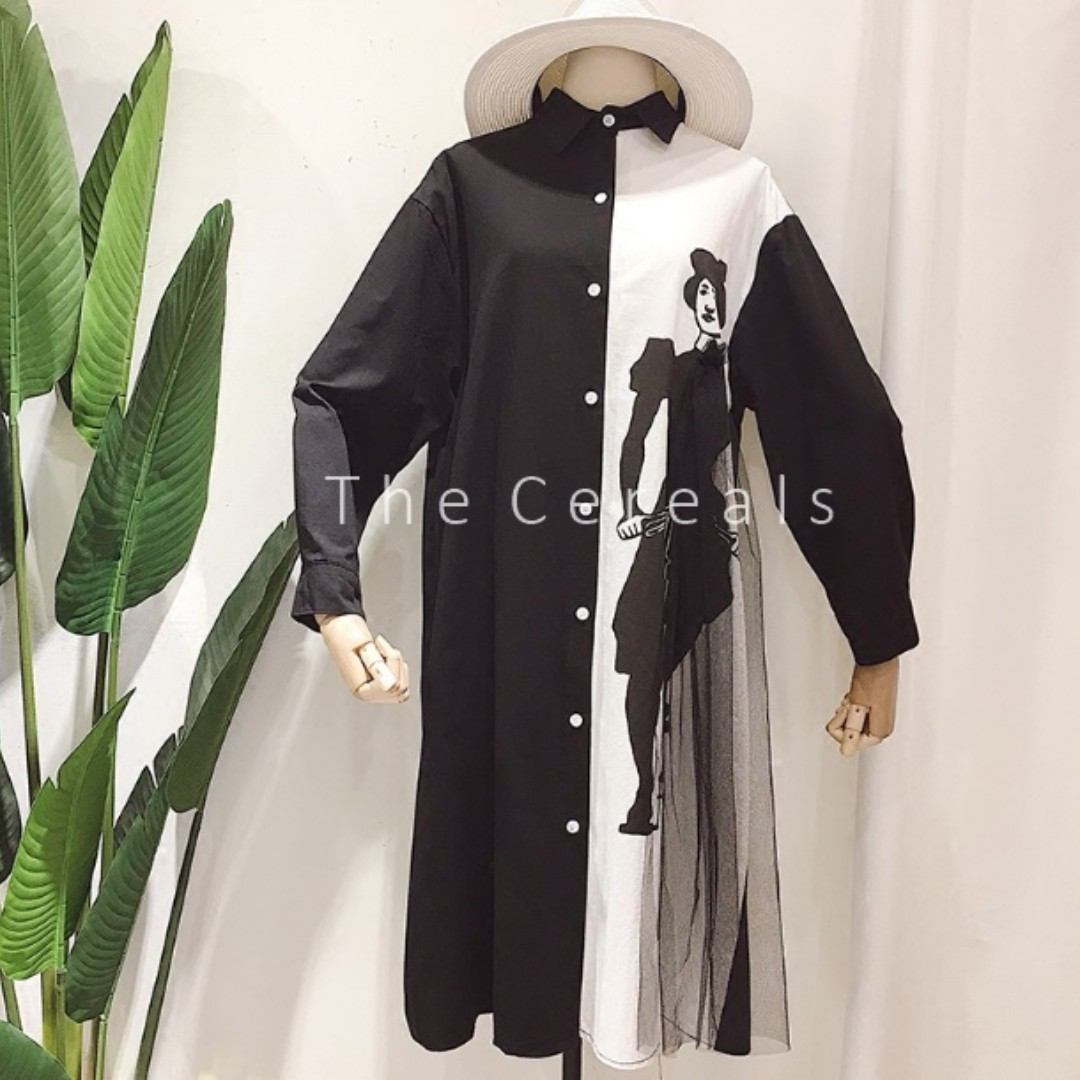 TC1975 Korea Designer Long Shirt / Dress