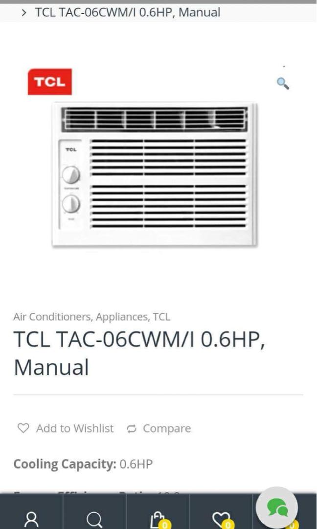 TCL window type aircon