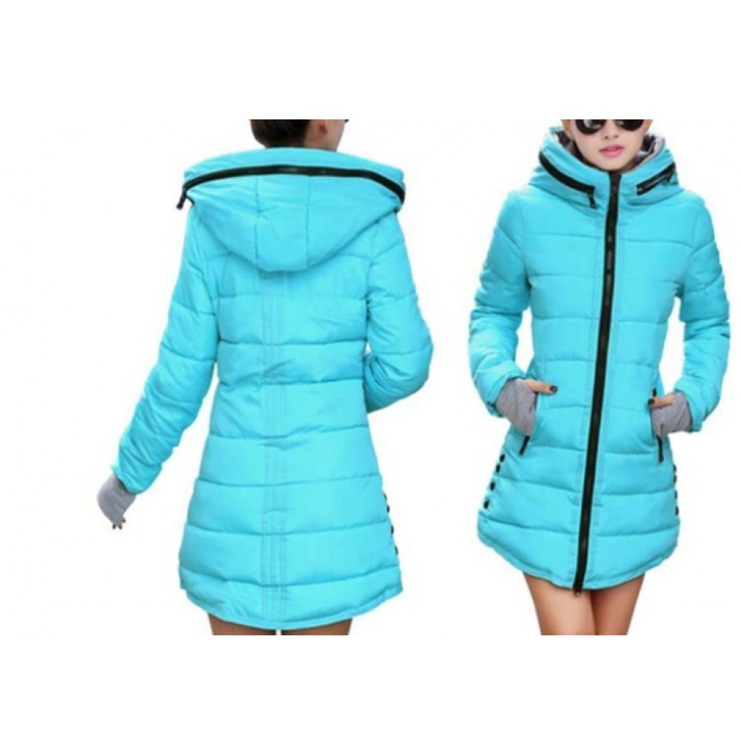 Teal Women's Long Puffer jacket (Size M)