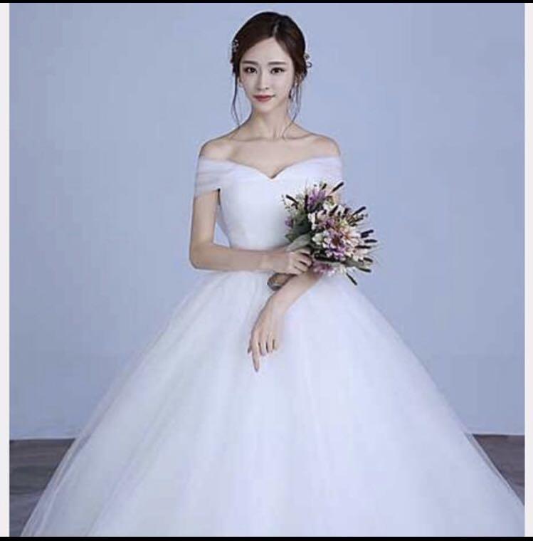 White Korean Wedding Dress With Train