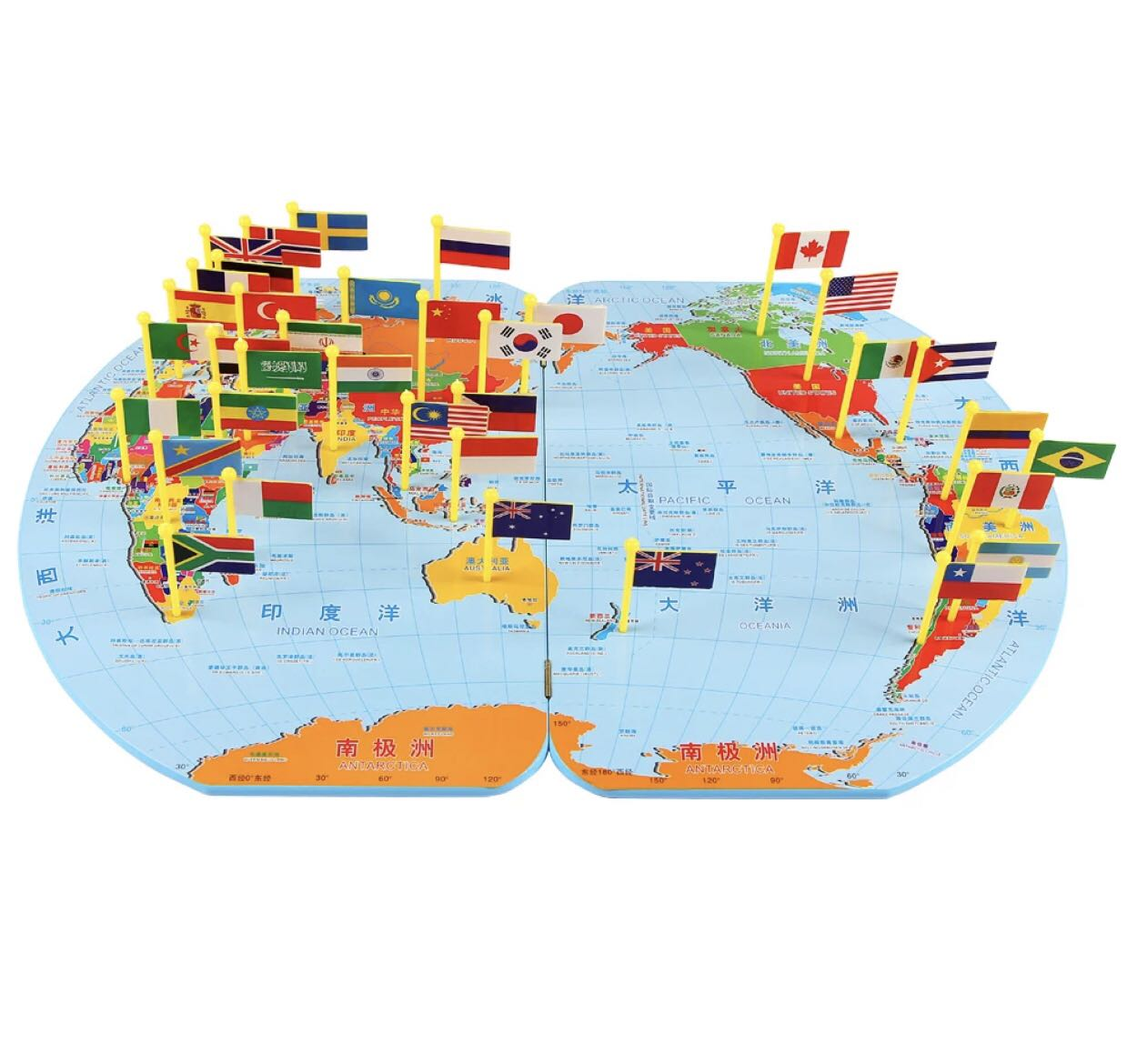 World Map Board Game Wooden Board And 36 Flags Toys Games