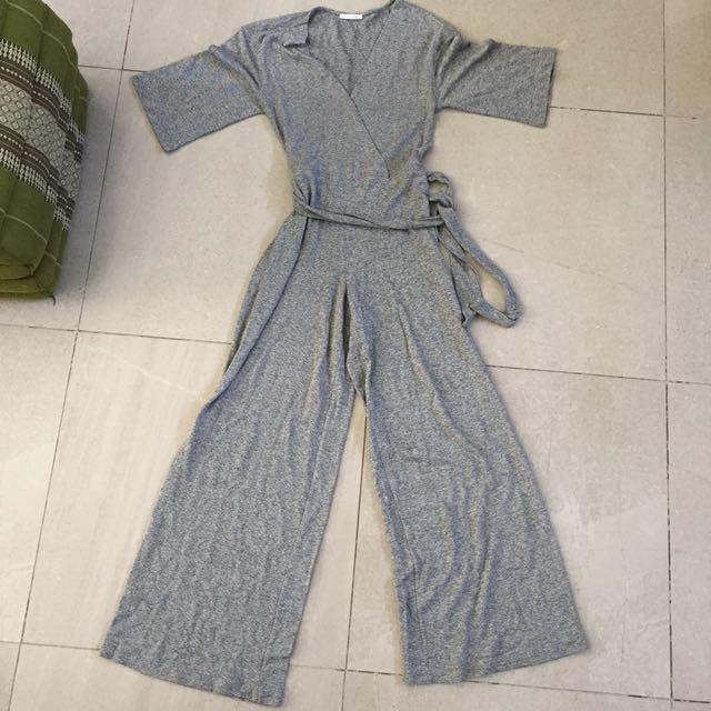 Zara Trafaluc Gray Long Jumpsuit