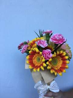 Gerbera with Carnation spray bouquet