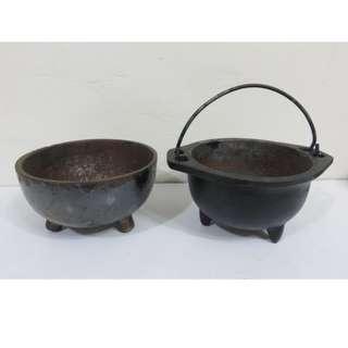 早期收藏三足老鐵鍋,鐵碗-2個一標