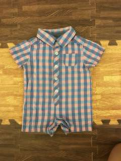 Old Navy blueberry gingham Romper 0-3 months