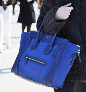 Celine mini luggage royal blue