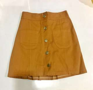 NEW Mustard Button Down Skirt