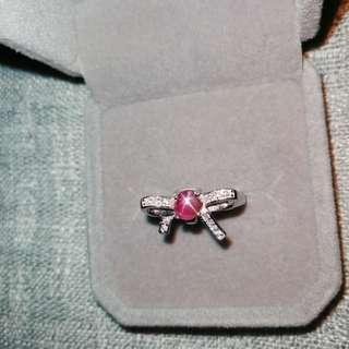 👑罕有天然斯里蘭卡星光粉紅色藍寳石純銀鍍18K白金戒指🌠主石圓4.8mm顏色超美星線好 精工鑲嵌開口圈       👑Silver Natural Pink sapphire Ring