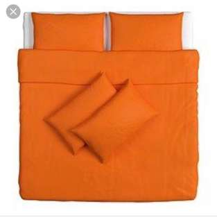 Ikea Dvala (King) Quilt Cover With 4-Pillowcases, Orange (240x220cm)