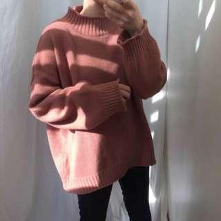 全新韓款棗紅色半高領寬鬆針織上衣 冷衫