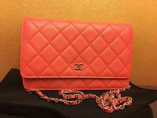 chanel wallet on chain pink