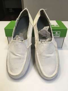 SANUK女款米白色懶人鞋/帆布鞋