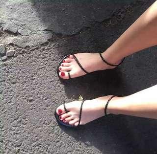 二手 細帶平底涼鞋