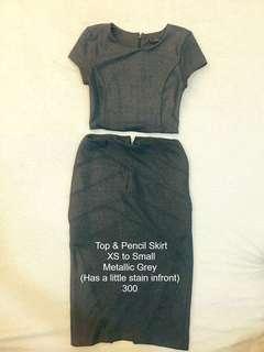 Top & Pencil Cut Skirt (Metallic Gray)