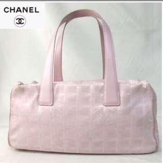 二手真品100%正品CHANEL帆布粉紅經典保齡球包~香奈兒肩背包