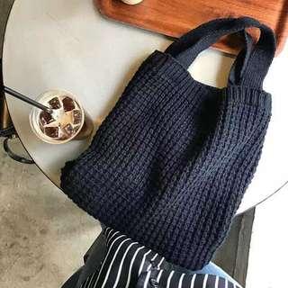 編織手提單肩兩用毛線包