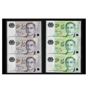 SINGAPORE uncut polymer notes 3x $2 and 3x$5 Gem UNC