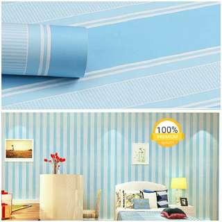 Grosir murah wallpaper sticker dinding kamar ruang indah garis putih biru