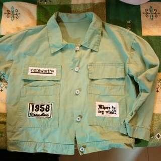 淺綠色 襯衫外套