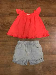 Pumpkin Patch Coral Top and Denim Shorts (6-12 months)
