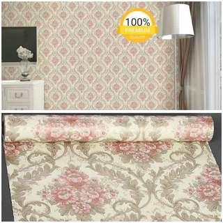 Grosir murah wallpaper sticker dinding kamar ruangan indah cream batik bunga merah