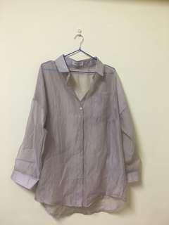薄紗慵懶感襯衫/灰色