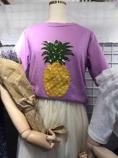 🌸春裝現貨🌸亮片鳳梨寬鬆上衣T