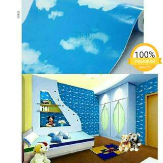 Grosir murah wallpaper sticker dinding kamar ruangan indah langit biru awan putih