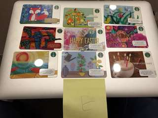9 x 美國星巴克咭Starbucks cards - set E