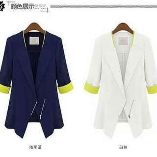 Zipper up Cover up Cuff Blazer