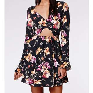 Floral Bell Sleeve Cut-out Dress