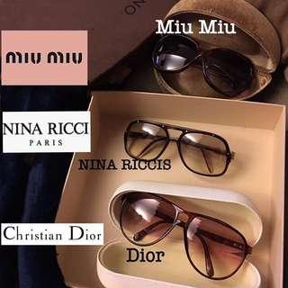 Christian Dior / MIU MIU / NINA RICCI  Vintage Sunglasses