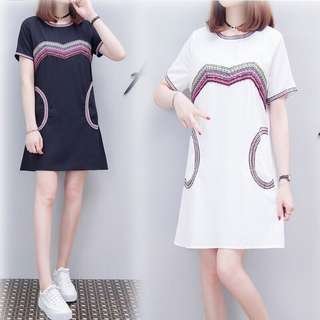 (XL~5XL) 2018 Korean Summer Women's Round Neck Breathable Dress