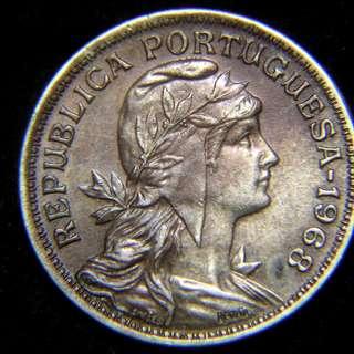 1968年葡萄牙(Portugal)共和女神及國徽50仙鎳幣(獨裁時期, 好品)
