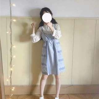 軟妹 森女系 天藍色吊帶裙+七分袖襯衫 萬事都如意家