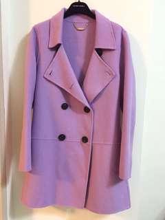 專櫃品牌【MOMA】薰衣草紫雙排扣羊毛長大衣#40