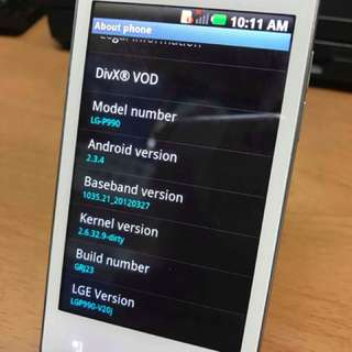 Second LG-P990 3G Android system